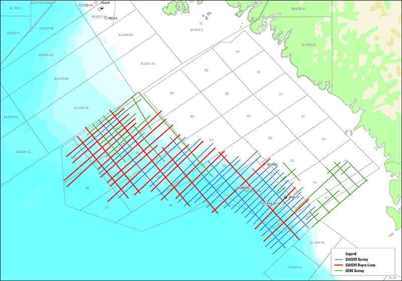 Offshore Guinea 2D reprocessing survey.