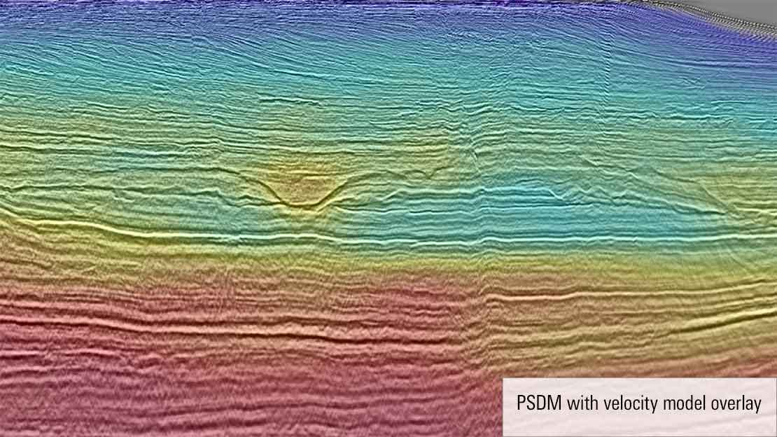 Reprocessed seismic survey with velocity model overlay.