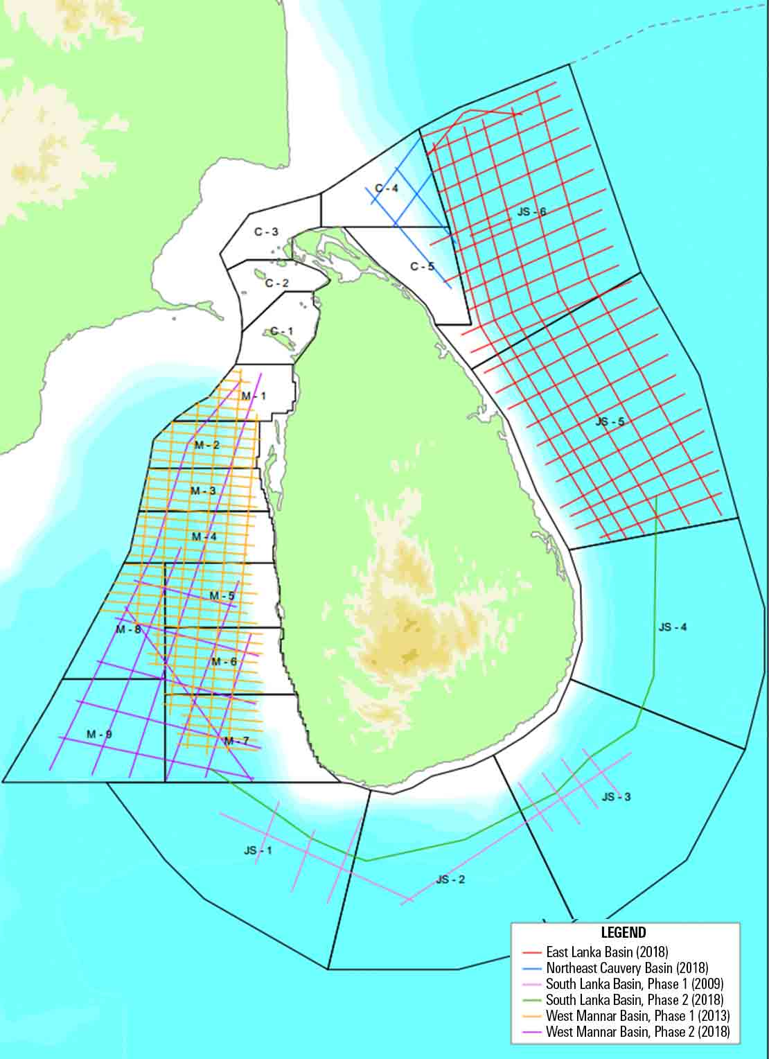 Image showing licensing round blocks and available broadband 2D seismic surveys of offshore Sri Lanka.
