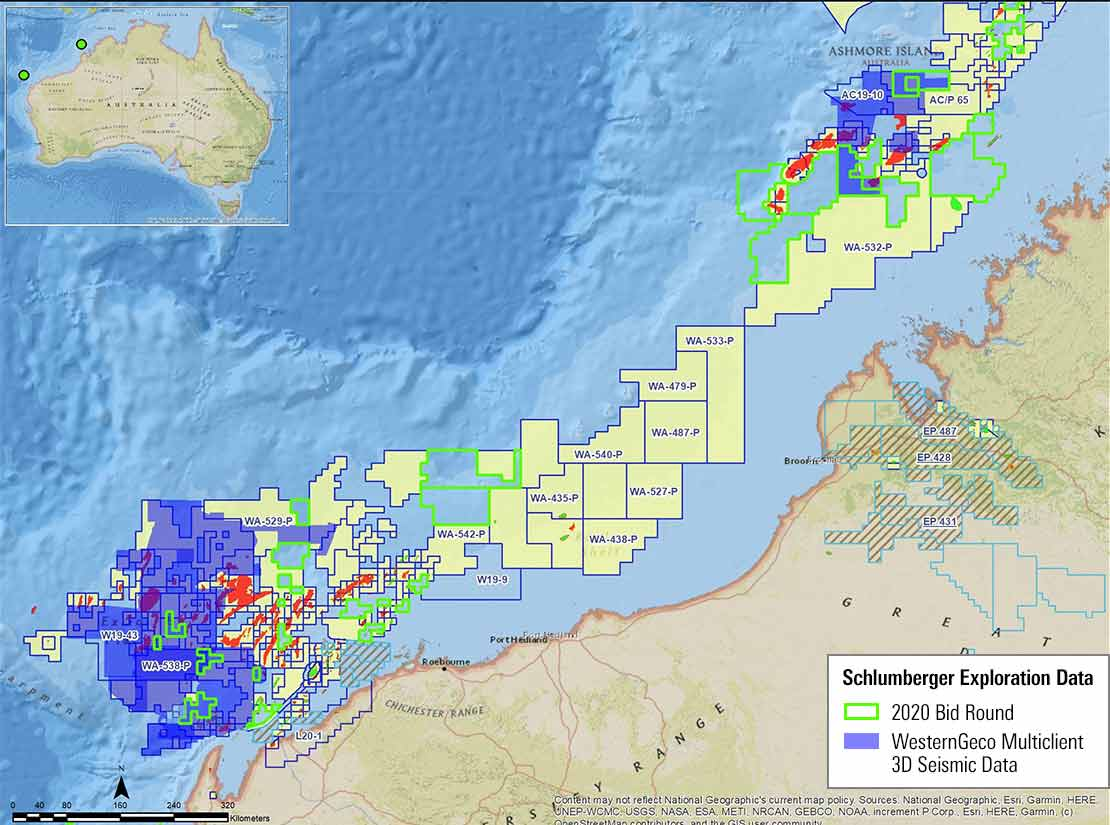 Image showing available acreage blocks and multiclient 3D seismic data offshore Australia