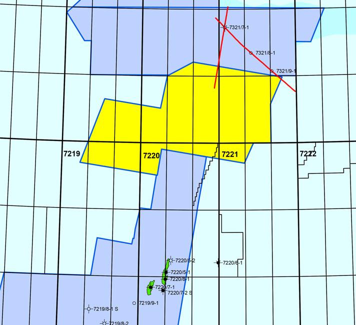 Map of Barents Sea 3D Bjørnøya Ice Bear 1 survey.
