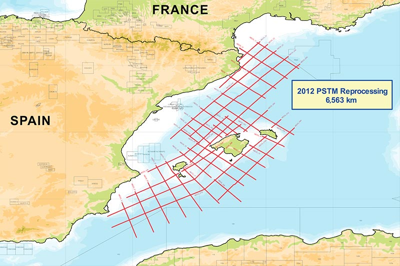 Map of 2012 reprocessed 2D data offshore Spain survey map.