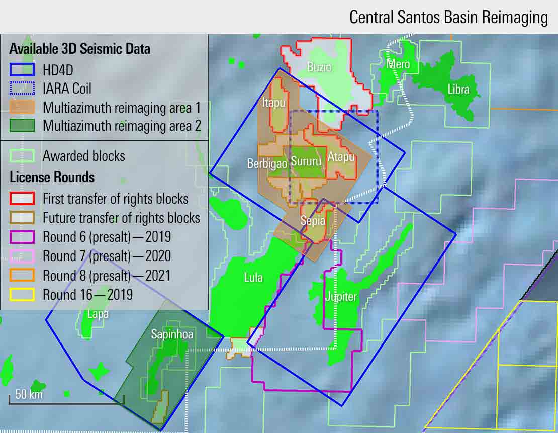 Image showing available 3D seismic data and license rounds blocks in the Central Santos Basin