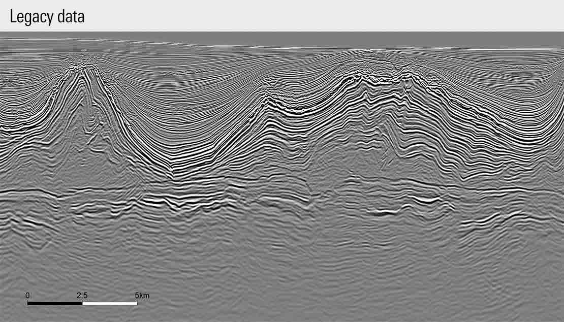 Image showing reprocessed seismic data from legacy data in the Central Santos Basin