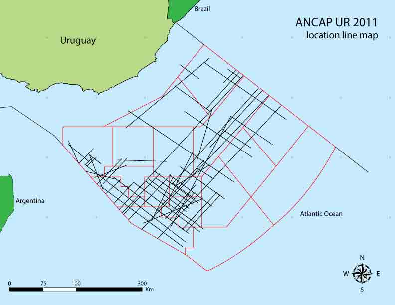 Map showing offshore Uruguay New Frontier multiclient survey area.