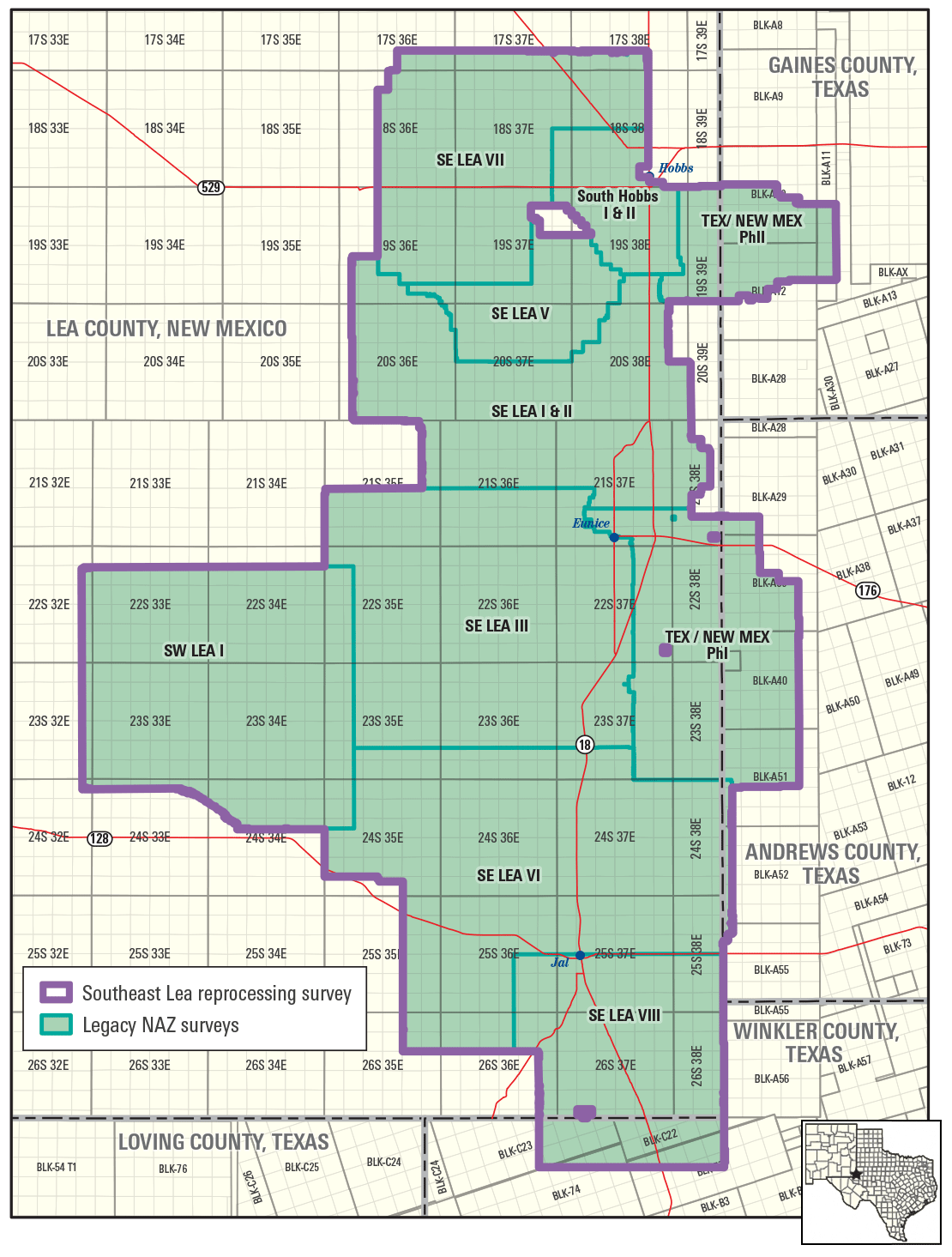 Blocks showing Southeast Lea Depth Reimaging and Survey Merge project
