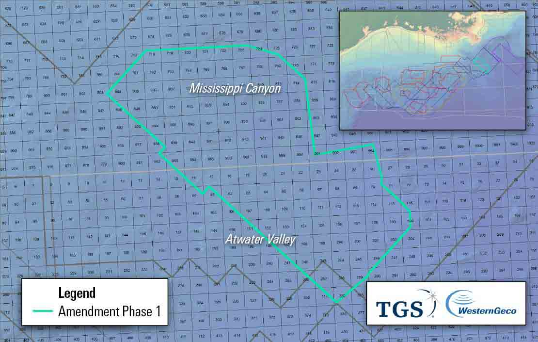 Image showing acquisition area of Amendment Phase 1 project in US Gulf of Mexico.