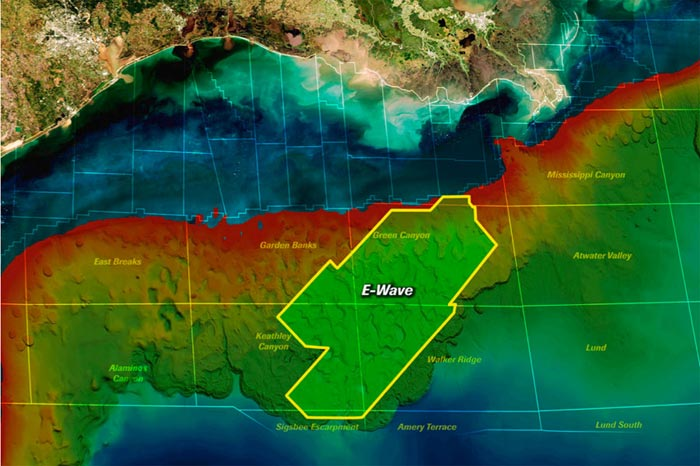 Map showing the E-Wave advanced imaging project in the Gulf of Mexico.