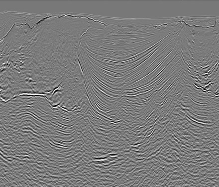 Revolution seismic data image shows an enhanced stack after full waveform inversion (FWI) plus subsalt update.