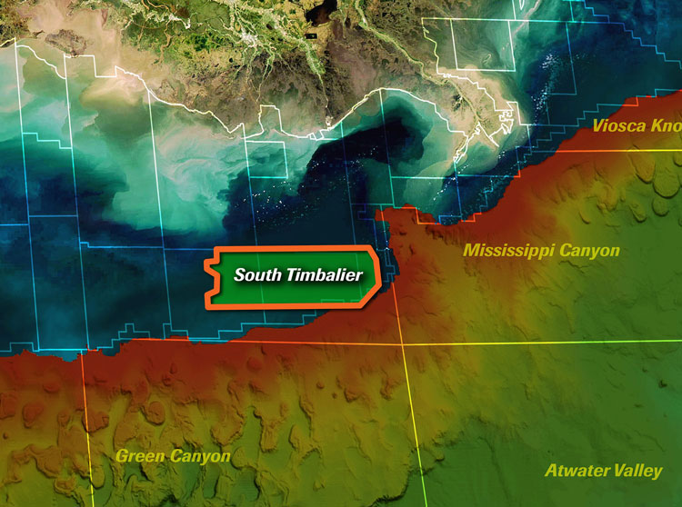 Map showing  South Timbalier survey area.