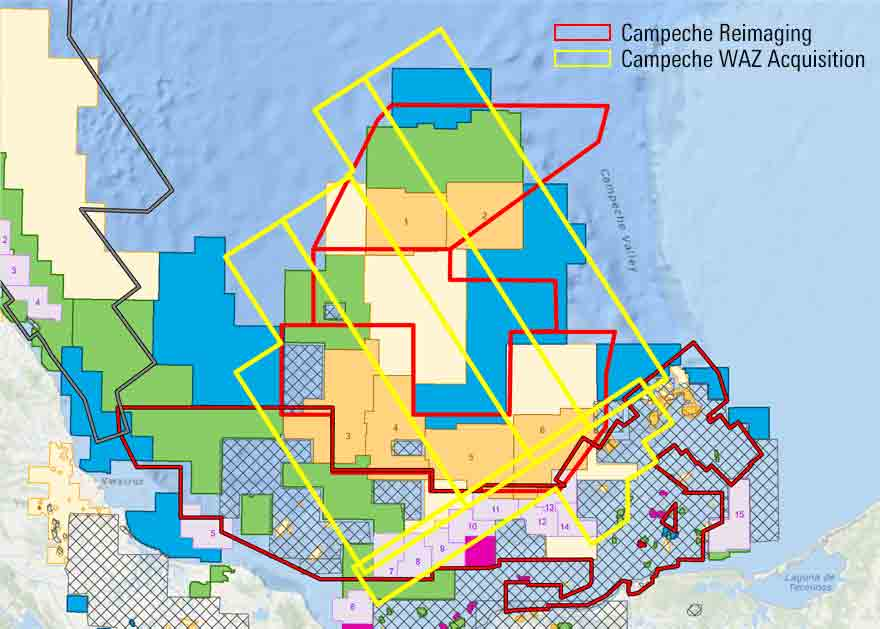 Map of  offshore Mexico showing Campeche 3D WAZ broadband seismic imaging project.