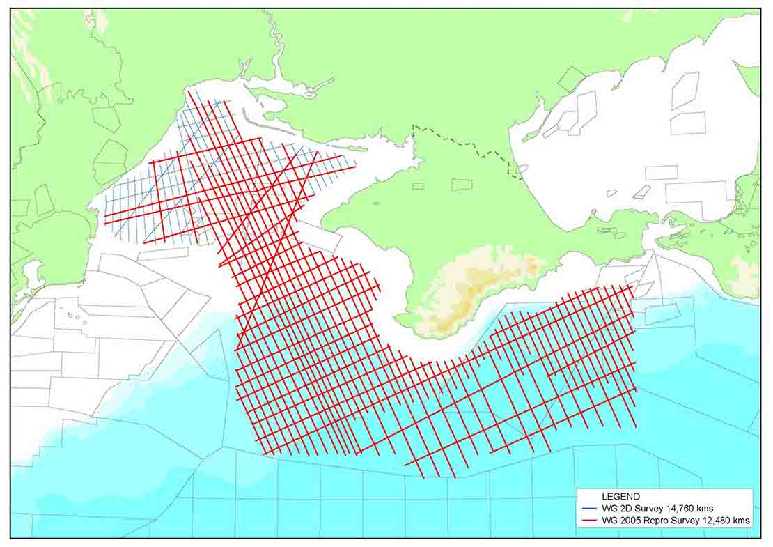 Ukraine Black Sea 2D seismic survey map.