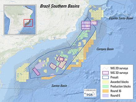 Brazil 16th bid round and presalt auction map