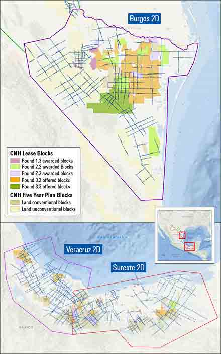 2D reimaging surveys for the Sureste, Veracruz, and Burgos Basins.