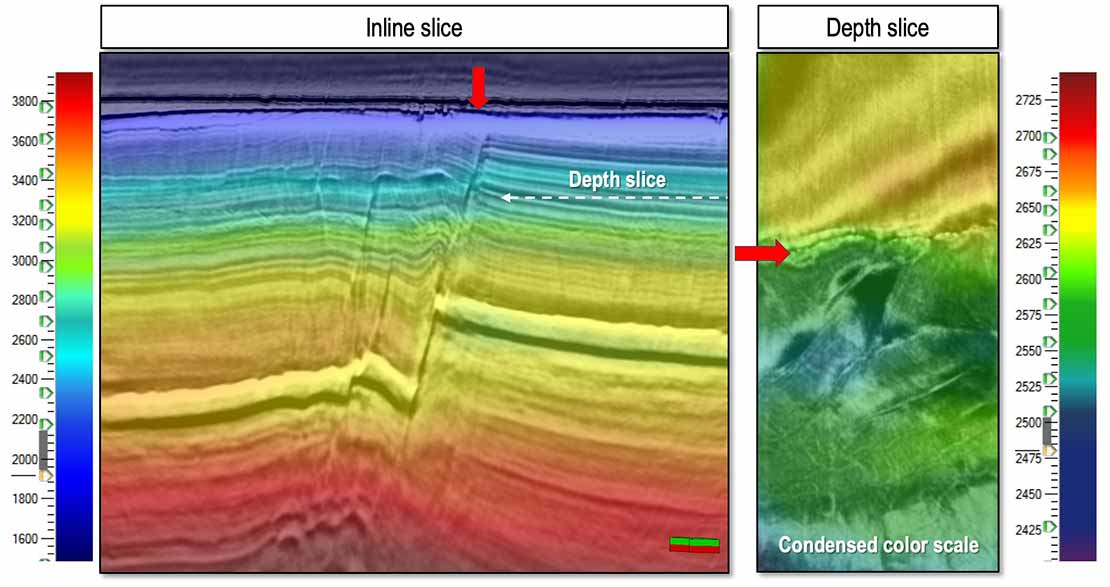 updated Seismic inline and depth slice of a smoothed PSTM velocity model after Adjustive FWI