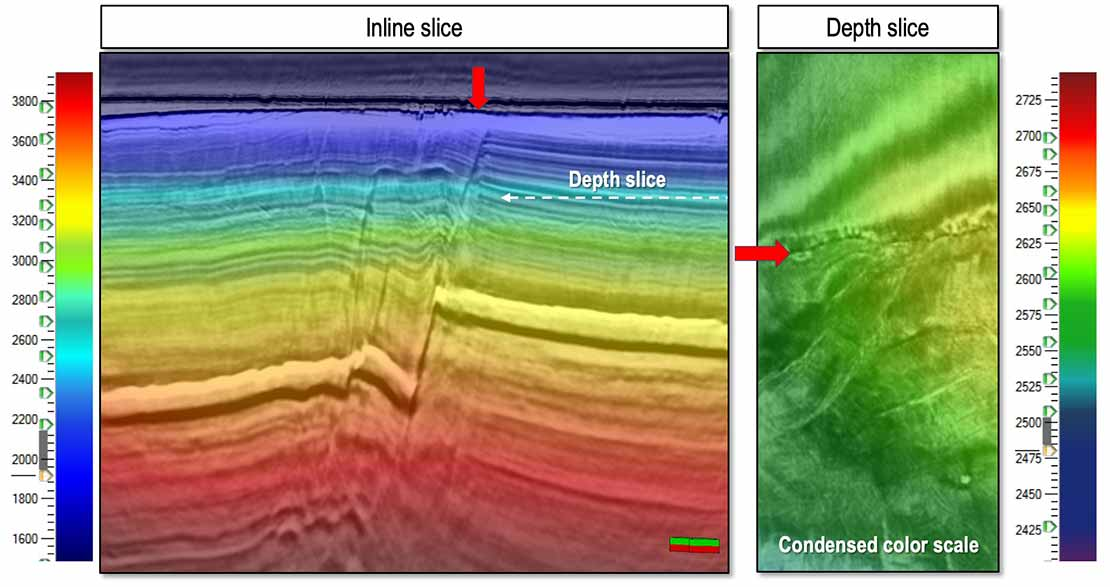 Seismic inline and depth slice of a smoothed PSTM velocity model