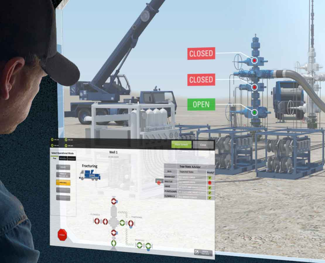 View of the ValveCommander platform showing status for multiple frac valves on a location.