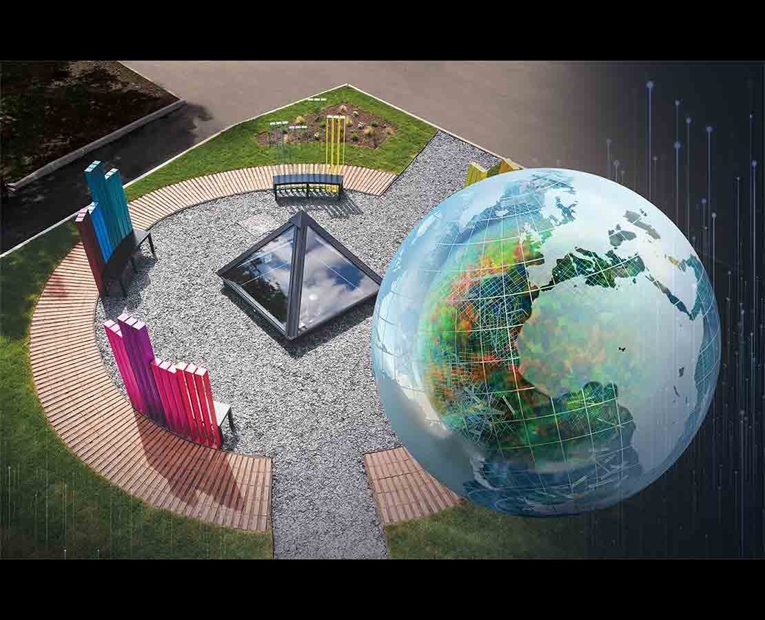 Globe rendering overlooking rig in the desert.