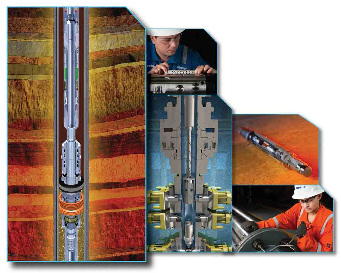 Illustration depicting downhole reservoir testing tools.