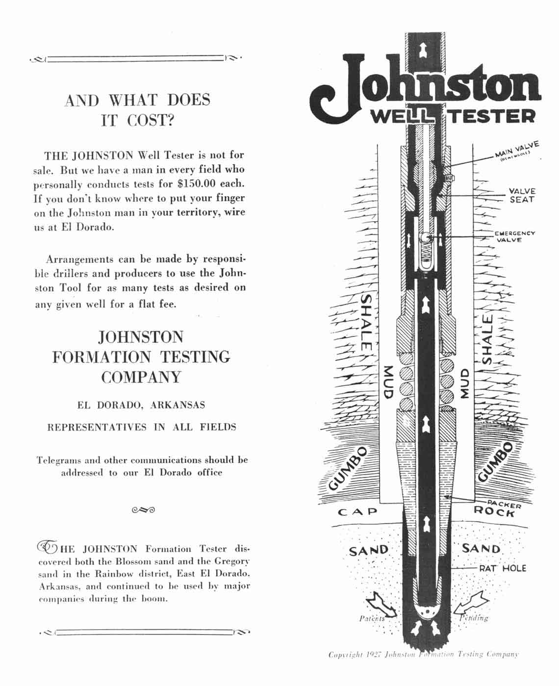Johnston Well Tester advertisement from 1927.
