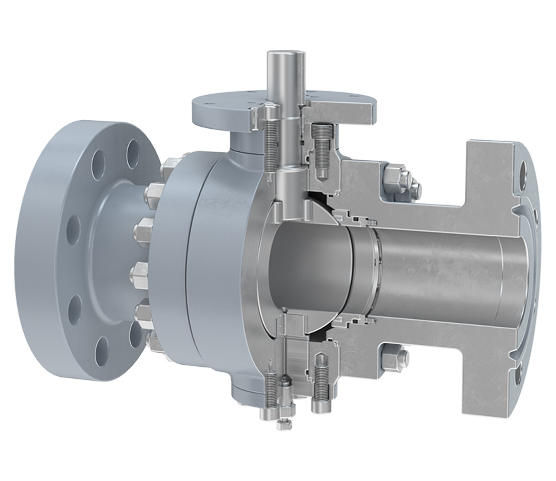 Cutaway of a B4 side-entry ball valve