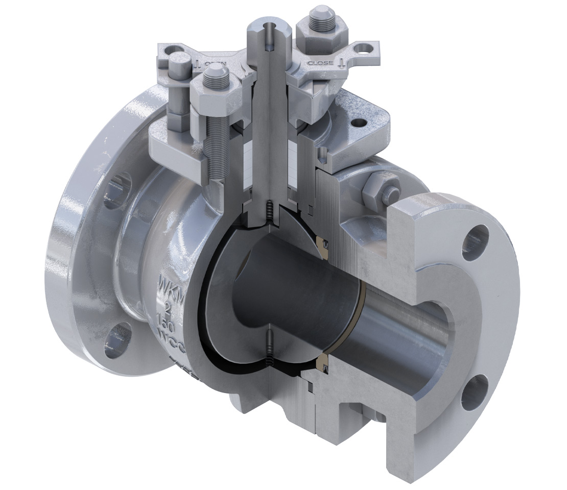 Cutaway of the WKM 320 series ball valve