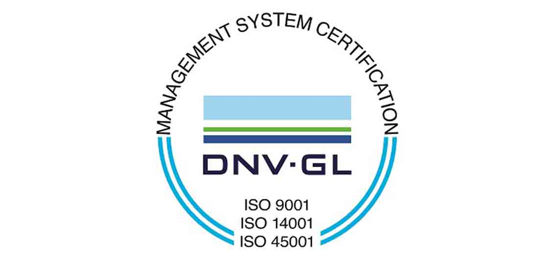 DNV GL management system certification seal for ISO 9001, ISO 14001, and ISO 45001