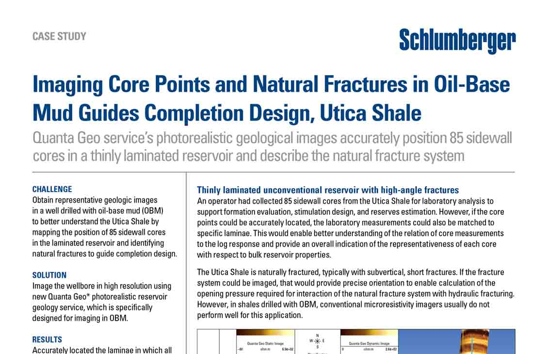 Imaging Core Points and Natural Fractures in Oil-Base Mud Guides Completion Design, Utica Shale | Schlumberger