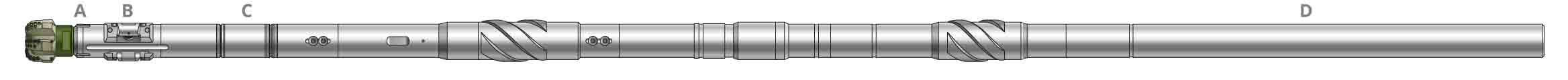 A simplified side-view rendering of a shortened PowerDrive vorteX RSS BHA, including the DynaForce drilling motor